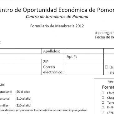 Campaña de Membrecía – Membership Campaign 2012